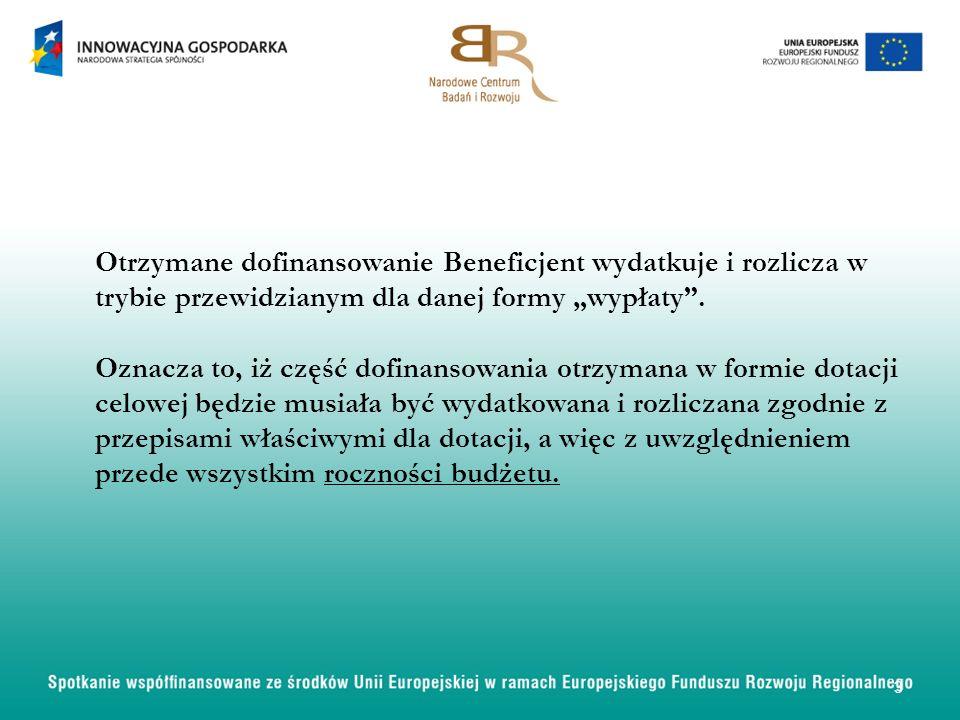 Beneficjent, po spełnieniu warunków wynikających z Umowy, otrzyma od Instytucji Pośredniczącej dofinansowanie przeznaczone na realizację Projektu w podziale na badania przemysłowe oraz prace rozwojowe.