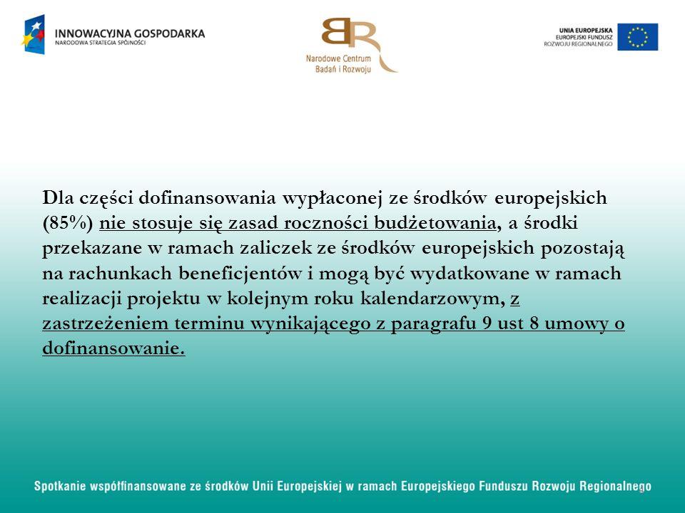 Dla części dofinansowania wypłaconej ze środków europejskich (85%) nie stosuje się zasad roczności budżetowania, a środki przekazane w ramach zaliczek ze środków europejskich pozostają na rachunkach beneficjentów i mogą być wydatkowane w ramach realizacji projektu w kolejnym roku kalendarzowym, z zastrzeżeniem terminu wynikającego z paragrafu 9 ust 8 umowy o dofinansowanie.