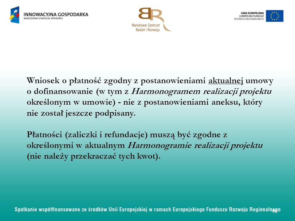 Wniosek o płatność zgodny z postanowieniami aktualnej umowy o dofinansowanie (w tym z Harmonogramem realizacji projektu określonym w umowie) - nie z p