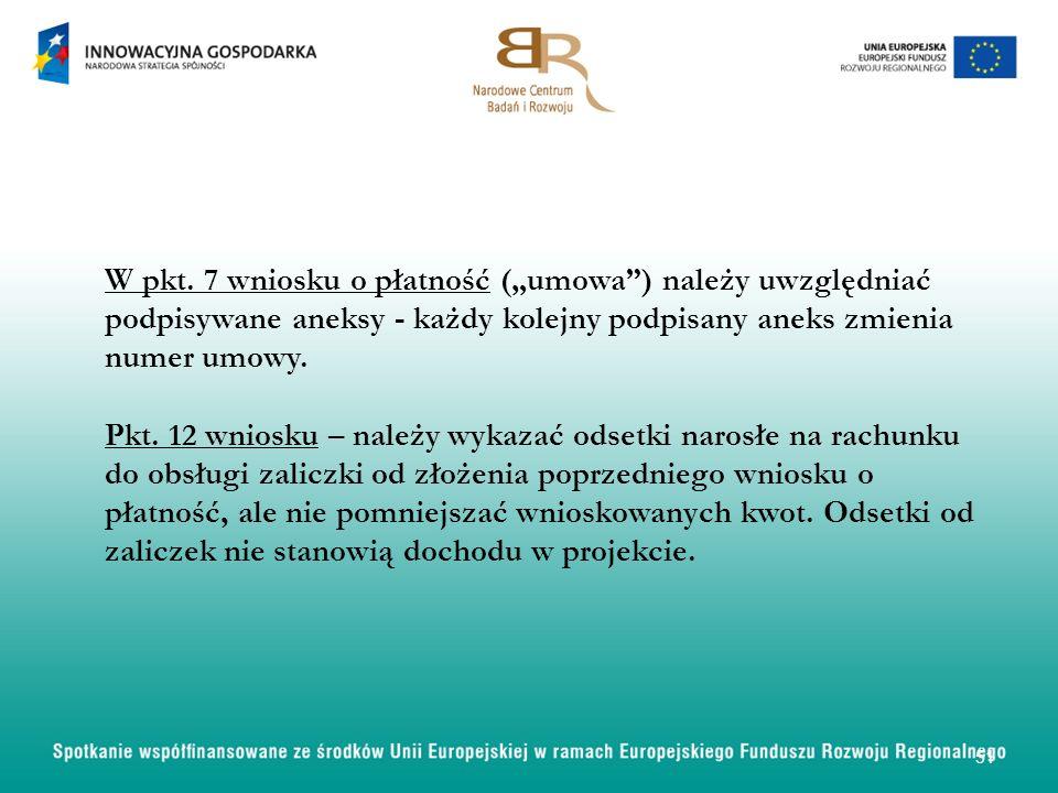 W pkt. 7 wniosku o płatność (umowa) należy uwzględniać podpisywane aneksy - każdy kolejny podpisany aneks zmienia numer umowy. Pkt. 12 wniosku – należ