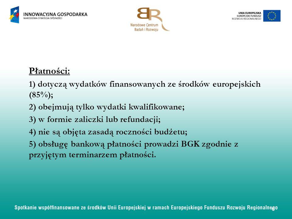 Płatności: 1) dotyczą wydatków finansowanych ze środków europejskich (85%); 2) obejmują tylko wydatki kwalifikowane; 3) w formie zaliczki lub refundacji; 4) nie są objęta zasadą roczności budżetu; 5) obsługę bankową płatności prowadzi BGK zgodnie z przyjętym terminarzem płatności.