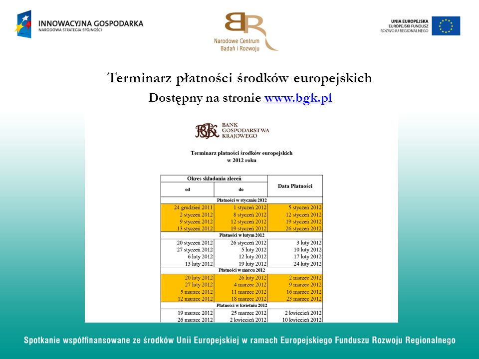 Terminarz płatności środków europejskich Dostępny na stronie www.bgk.plwww.bgk.pl 7