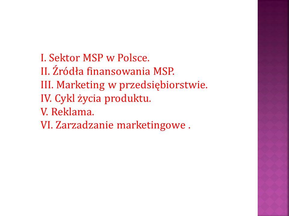 I. Sektor MSP w Polsce. II. Źródła finansowania MSP. III. Marketing w przedsiębiorstwie. IV. Cykl życia produktu. V. Reklama. VI. Zarzadzanie marketin