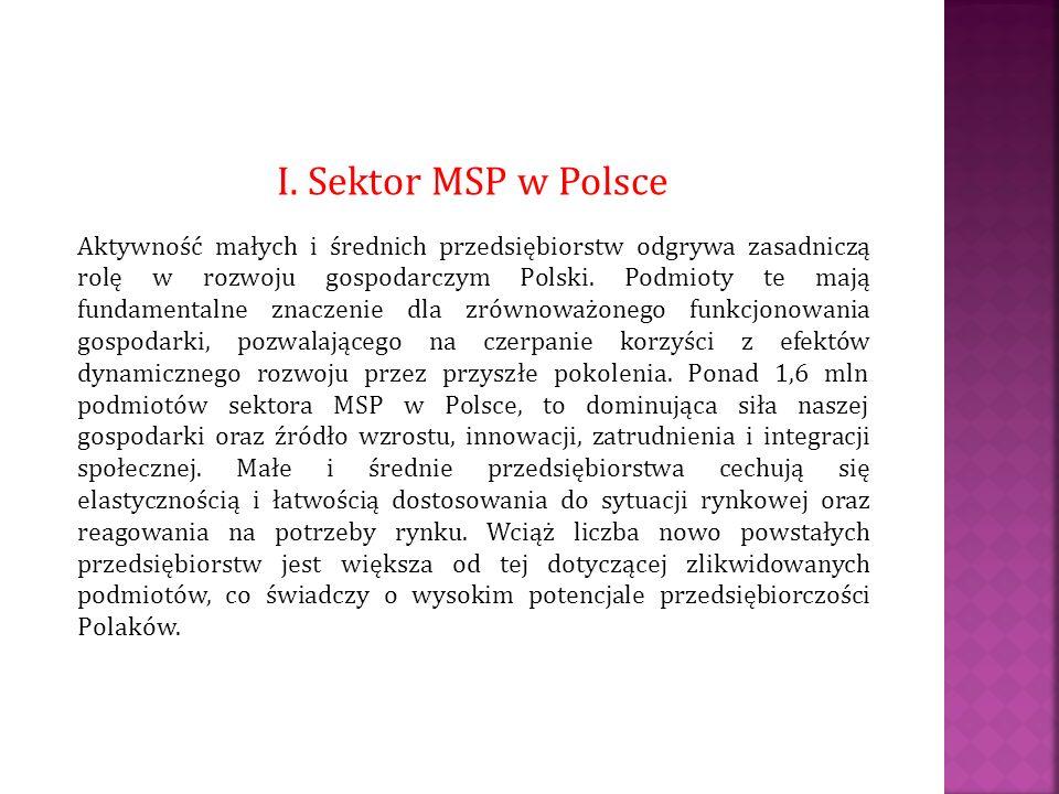 I. Sektor MSP w Polsce Aktywność małych i średnich przedsiębiorstw odgrywa zasadniczą rolę w rozwoju gospodarczym Polski. Podmioty te mają fundamental