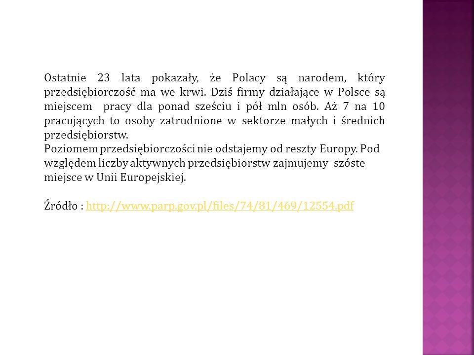 Ostatnie 23 lata pokazały, że Polacy są narodem, który przedsiębiorczość ma we krwi. Dziś firmy działające w Polsce są miejscem pracy dla ponad sześci