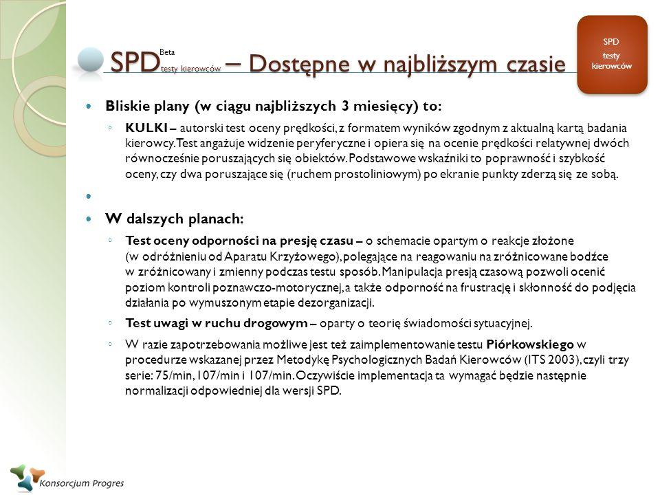 SPD testy kierowców – Dostępne w najbliższym czasie Bliskie plany (w ciągu najbliższych 3 miesięcy) to: KULKI – autorski test oceny prędkości, z forma