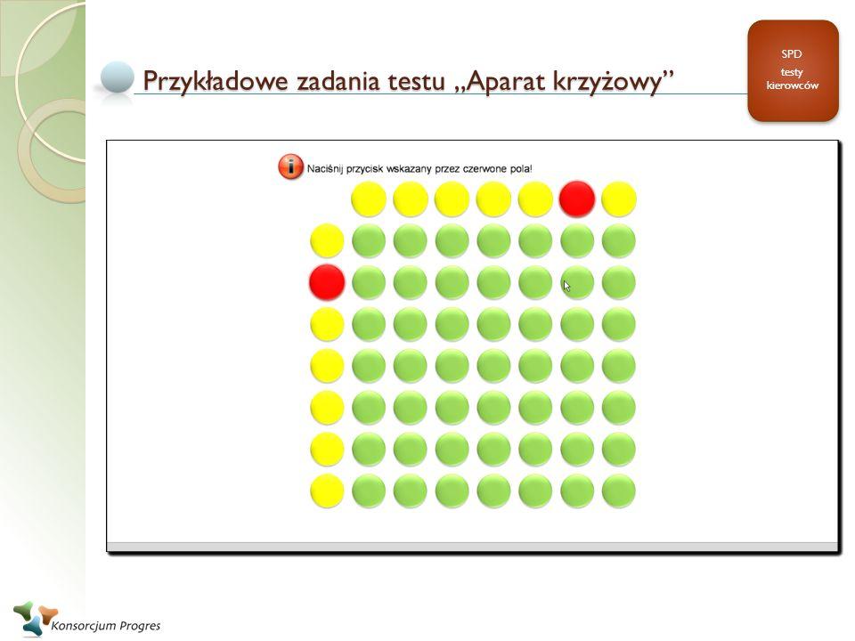 Przykładowe zadania testu Aparat krzyżowy SPD testy kierowców