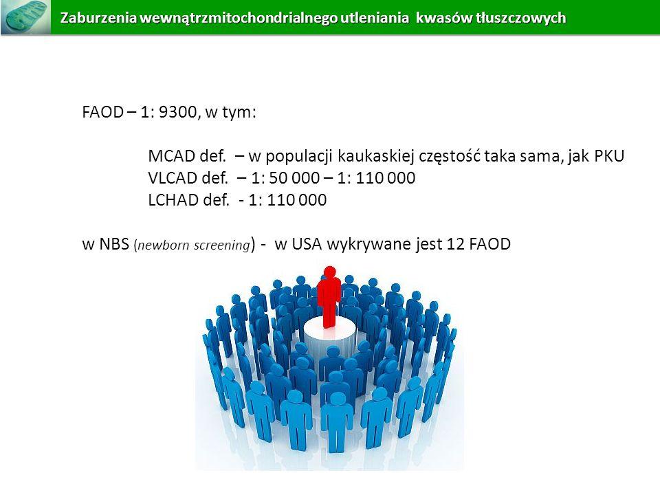 FAOD – 1: 9300, w tym: MCAD def. – w populacji kaukaskiej częstość taka sama, jak PKU VLCAD def. – 1: 50 000 – 1: 110 000 LCHAD def. - 1: 110 000 w NB
