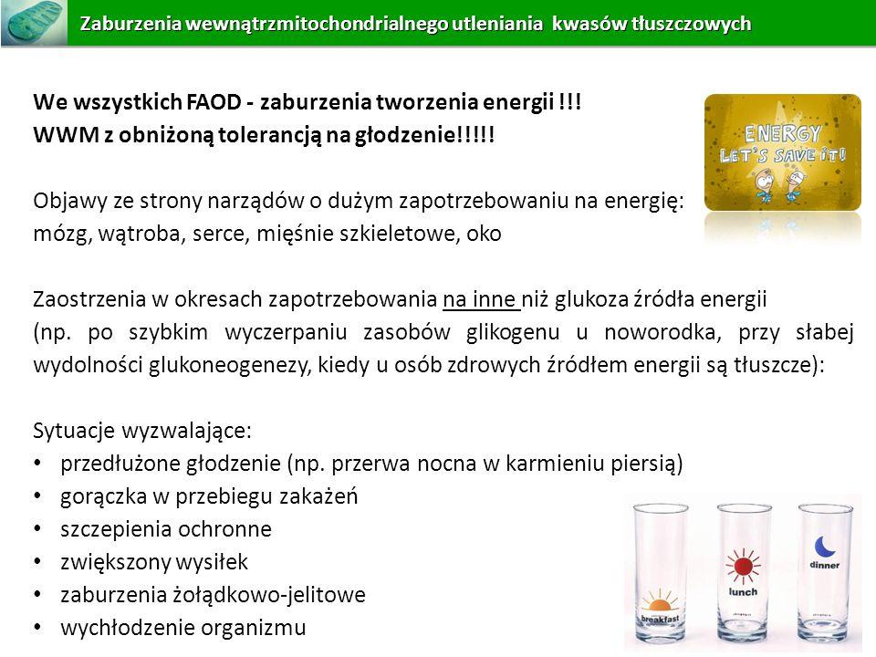 We wszystkich FAOD - zaburzenia tworzenia energii !!! WWM z obniżoną tolerancją na głodzenie!!!!! Objawy ze strony narządów o dużym zapotrzebowaniu na