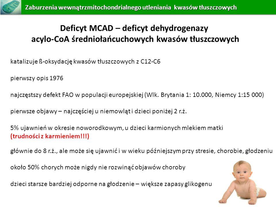 Deficyt MCAD – deficyt dehydrogenazy acylo-CoA średniołańcuchowych kwasów tłuszczowych katalizuje ß-oksydację kwasów tłuszczowych z C12-C6 pierwszy op