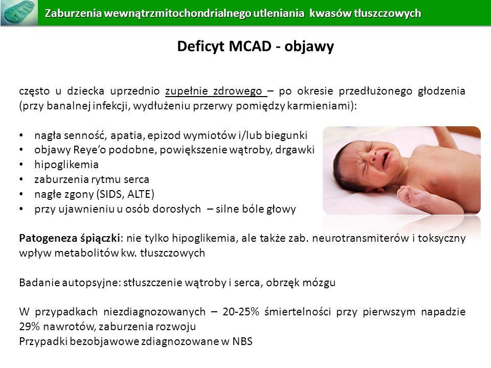 często u dziecka uprzednio zupełnie zdrowego – po okresie przedłużonego głodzenia (przy banalnej infekcji, wydłużeniu przerwy pomiędzy karmieniami): n