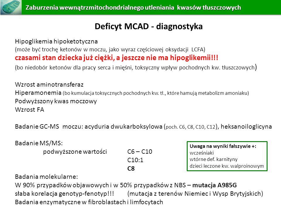 Deficyt MCAD - diagnostyka Hipoglikemia hipoketotyczna (może być trochę ketonów w moczu, jako wyraz częściowej oksydacji LCFA) czasami stan dziecka ju