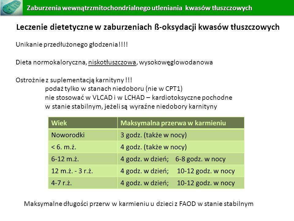Unikanie przedłużonego głodzenia!!!! Dieta normokaloryczna, niskotłuszczowa, wysokowęglowodanowa Ostrożnie z suplementacją karnityny !!! podaż tylko w