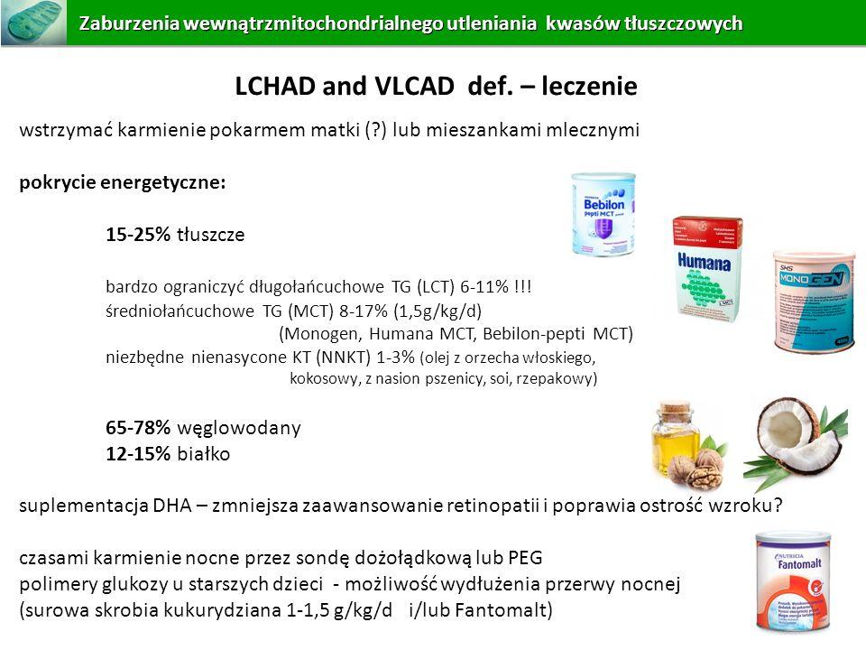 wstrzymać karmienie pokarmem matki (?) lub mieszankami mlecznymi pokrycie energetyczne: 15-25% tłuszcze bardzo ograniczyć długołańcuchowe TG (LCT) 6-1