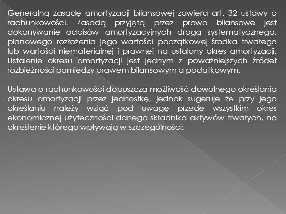 Generalną zasadę amortyzacji bilansowej zawiera art. 32 ustawy o rachunkowości. Zasadą przyjętą przez prawo bilansowe jest dokonywanie odpisów amortyz
