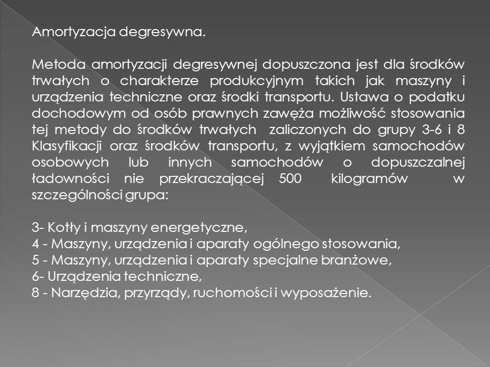 Amortyzacja degresywna. Metoda amortyzacji degresywnej dopuszczona jest dla środków trwałych o charakterze produkcyjnym takich jak maszyny i urządzeni