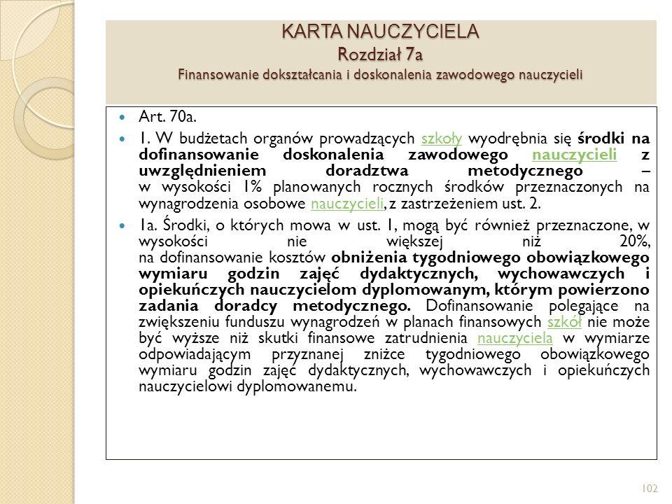KARTA NAUCZYCIELA Rozdział 7a Finansowanie dokształcania i doskonalenia zawodowego nauczycieli Art.
