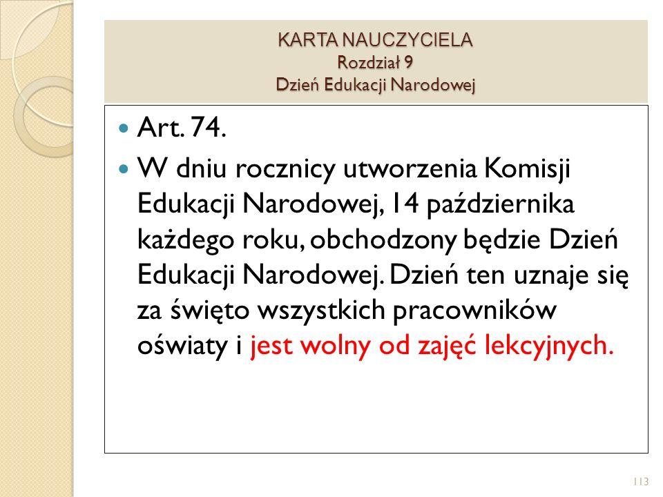 KARTA NAUCZYCIELA Rozdział 9 Dzień Edukacji Narodowej Art.