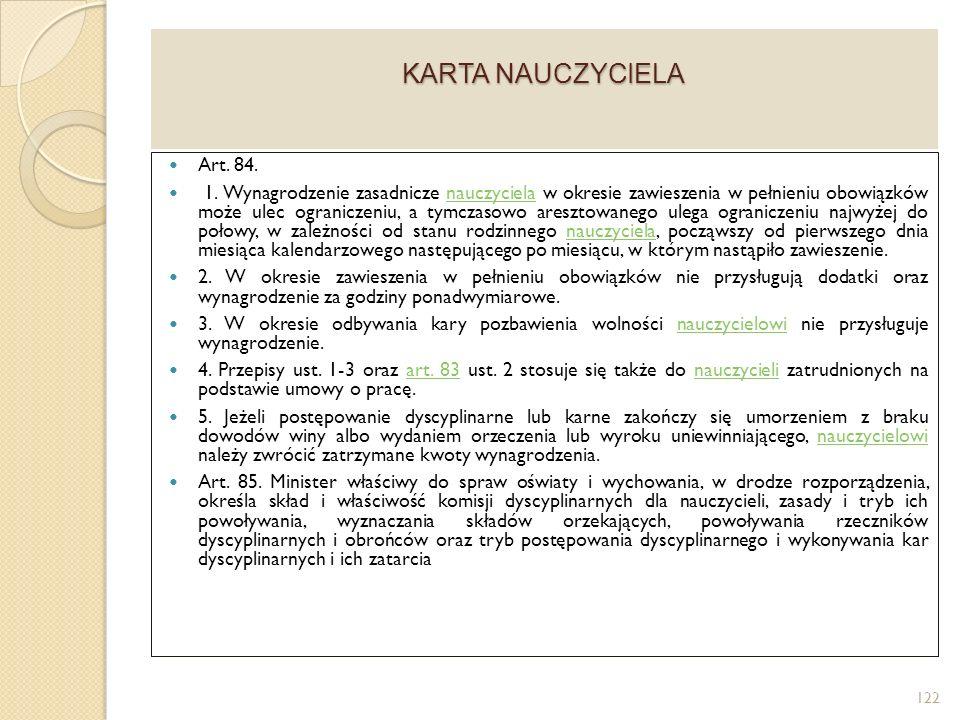KARTA NAUCZYCIELA Art.84. 1.