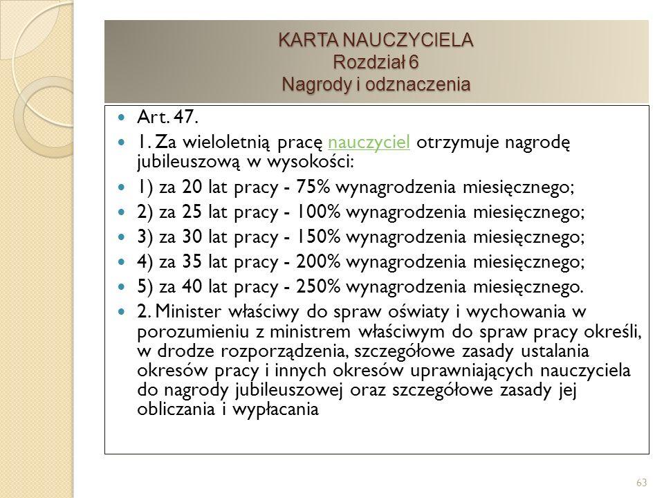 KARTA NAUCZYCIELA Rozdział 6 Nagrody i odznaczenia Art.