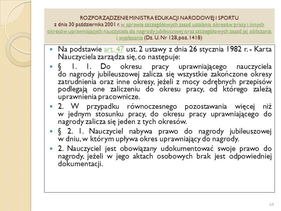 ROZPORZĄDZENIE MINISTRA EDUKACJI NARODOWEJ I SPORTU z dnia 30 października 2001 r.