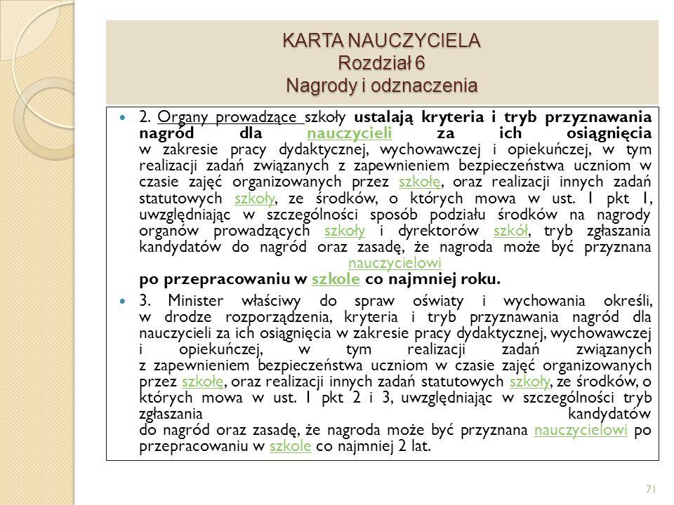 KARTA NAUCZYCIELA Rozdział 6 Nagrody i odznaczenia 2.