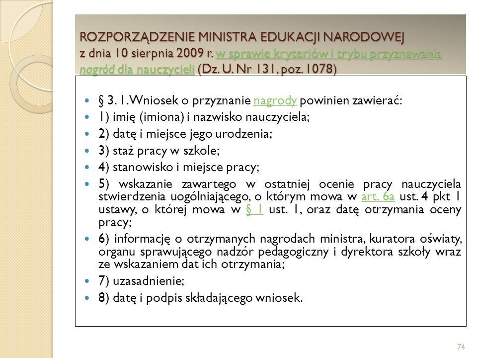 ROZPORZĄDZENIE MINISTRA EDUKACJI NARODOWEJ z dnia 10 sierpnia 2009 r.