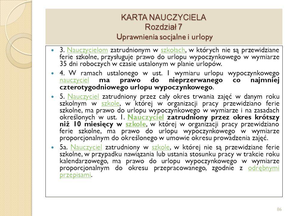 KARTA NAUCZYCIELA Rozdział 7 Uprawnienia socjalne i urlopy 3.