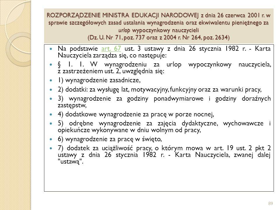 ROZPORZĄDZENIE MINISTRA EDUKACJI NARODOWEJ z dnia 26 czerwca 2001 r.