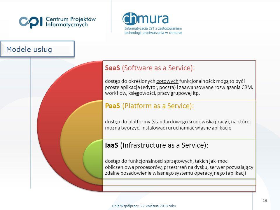 19 Linia Współpracy, 22 kwietnia 2013 roku SaaS (Software as a Service): dostęp do określonych gotowych funkcjonalności: mogą to być i proste aplikacje (edytor, poczta) i zaawansowane rozwiązania CRM, workflow, księgowości, pracy grupowej itp.