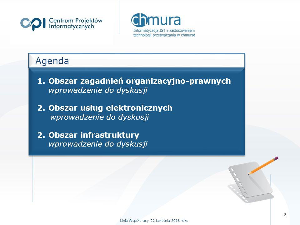1.Obszar zagadnień organizacyjno-prawnych wprowadzenie do dyskusji 2.Obszar usług elektronicznych wprowadzenie do dyskusji 2.Obszar infrastruktury wprowadzenie do dyskusji Agenda Linia Współpracy, 22 kwietnia 2013 roku 2