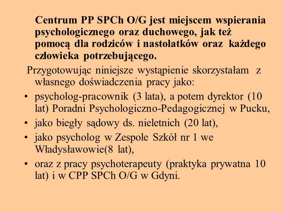Centrum PP SPCh O/G jest miejscem wspierania psychologicznego oraz duchowego, jak też pomocą dla rodziców i nastolatków oraz każdego człowieka potrzeb