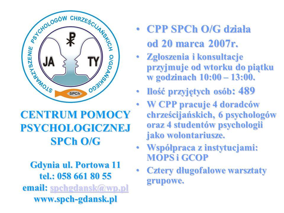 CENTRUM POMOCY PSYCHOLOGICZNEJ SPCh O/G Gdynia ul. Portowa 11 tel.: 058 661 80 55 email: spchgdansk@wp.pl www.spch-gdansk.pl spchgdansk@wp.pl CPP SPCh