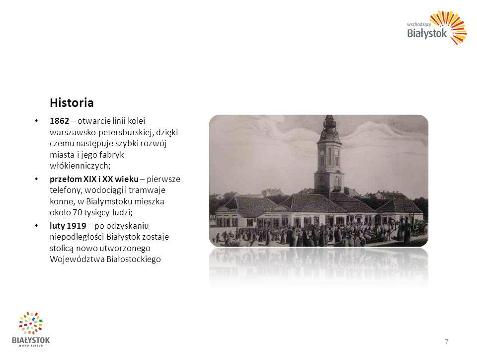 Historia 1862 – otwarcie linii kolei warszawsko-petersburskiej, dzięki czemu następuje szybki rozwój miasta i jego fabryk włókienniczych; przełom XIX