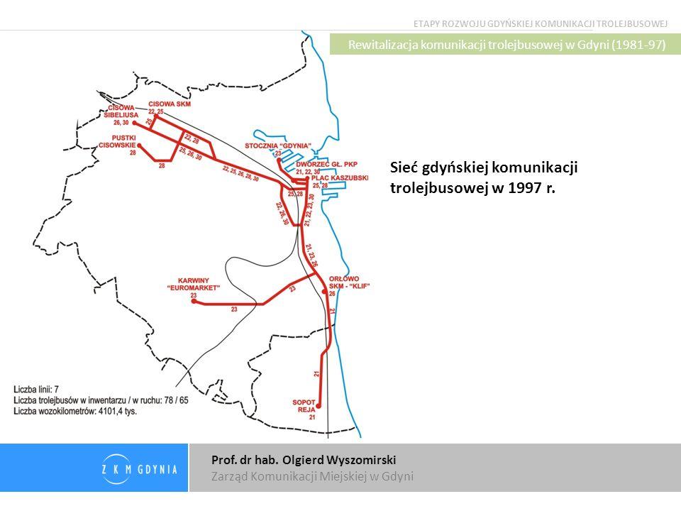 Prof. dr hab. Olgierd Wyszomirski Zarząd Komunikacji Miejskiej w Gdyni Sieć gdyńskiej komunikacji trolejbusowej w 1997 r. ETAPY ROZWOJU GDYŃSKIEJ KOMU