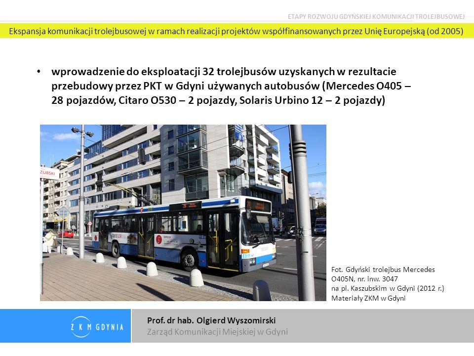 Prof. dr hab. Olgierd Wyszomirski Zarząd Komunikacji Miejskiej w Gdyni wprowadzenie do eksploatacji 32 trolejbusów uzyskanych w rezultacie przebudowy