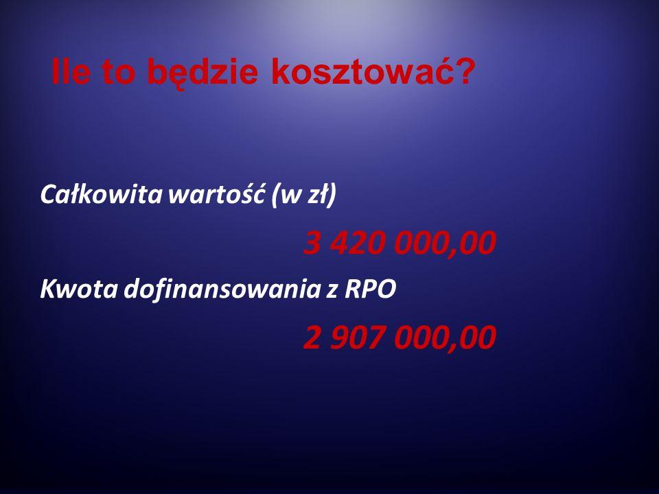 Całkowita wartość (w zł) 3 420 000,00 Kwota dofinansowania z RPO 2 907 000,00 Ile to będzie kosztować?