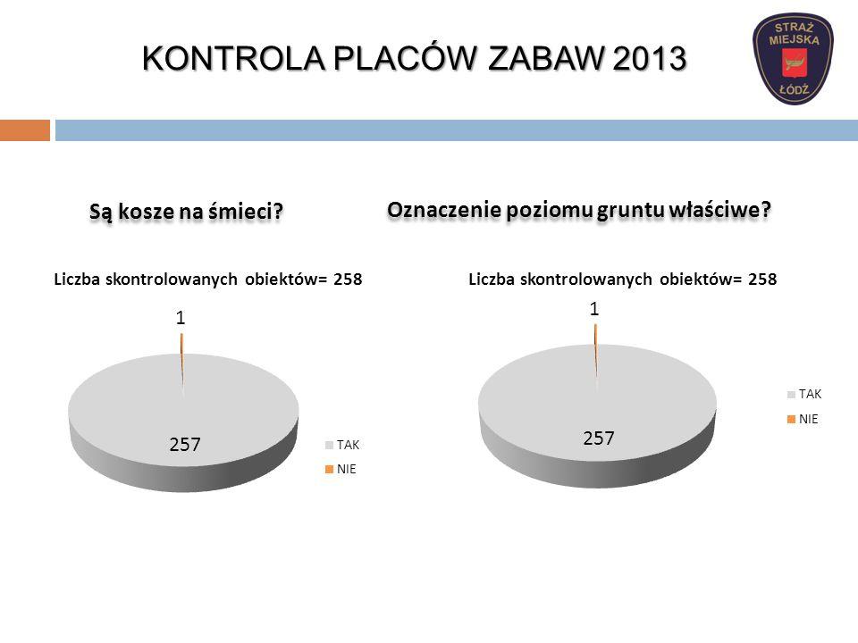 KONTROLA PIASKOWNIC 2013 Wynik kontroli piaskownic: