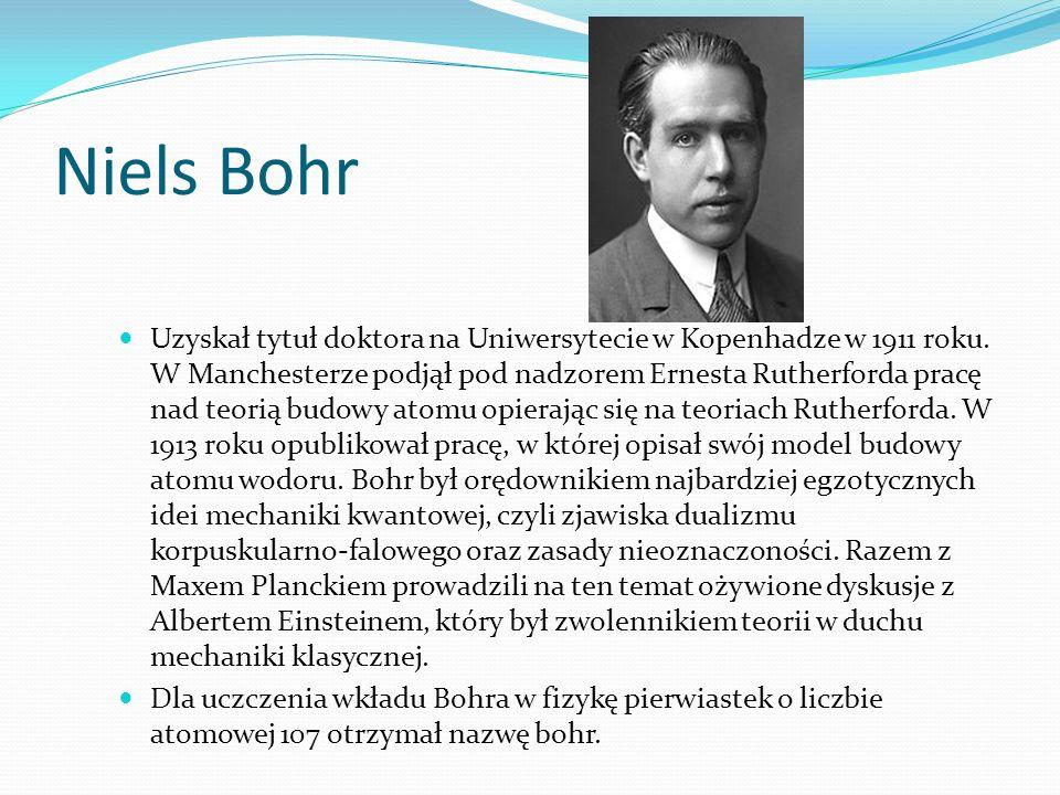 Niels Bohr Uzyskał tytuł doktora na Uniwersytecie w Kopenhadze w 1911 roku.