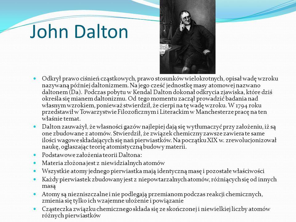 John Dalton Odkrył prawo ciśnień cząstkowych, prawo stosunków wielokrotnych, opisał wadę wzroku nazywaną później daltonizmem.