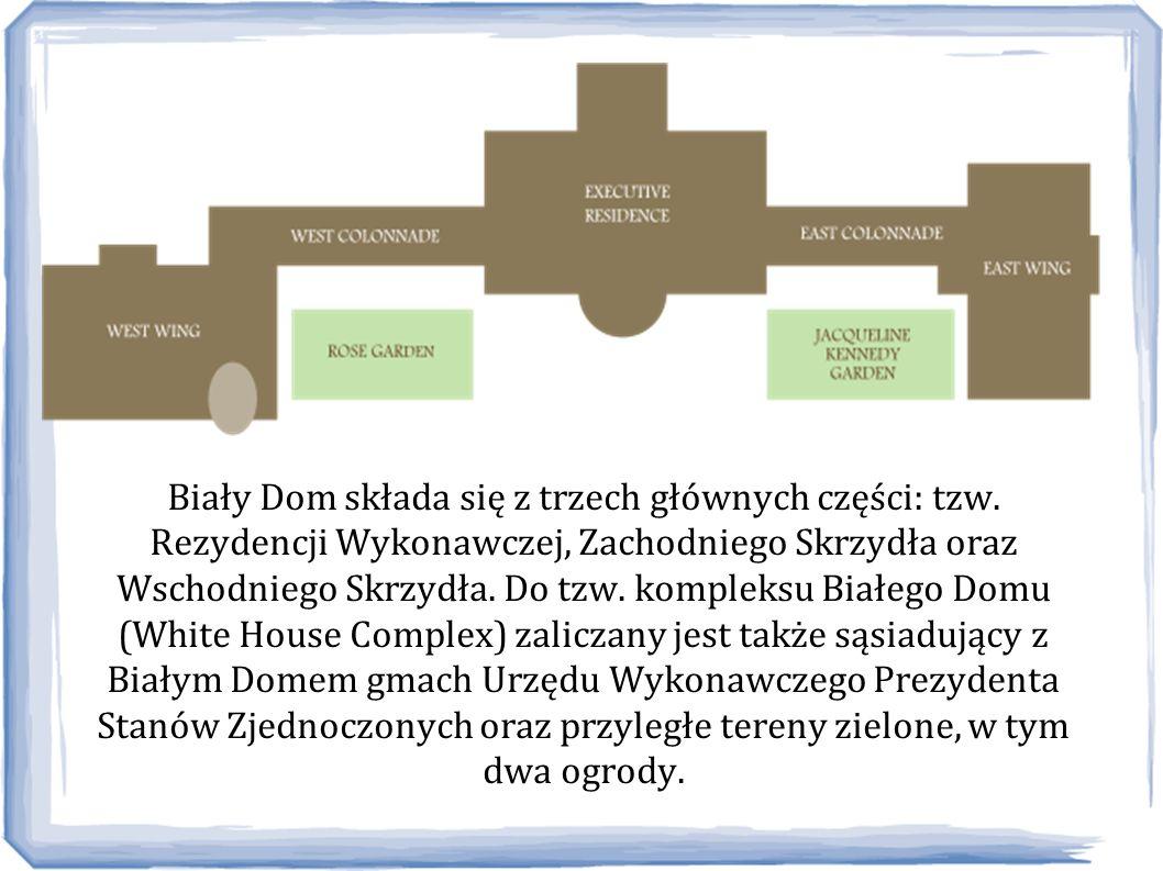 Biały Dom składa się z trzech głównych części: tzw. Rezydencji Wykonawczej, Zachodniego Skrzydła oraz Wschodniego Skrzydła. Do tzw. kompleksu Białego