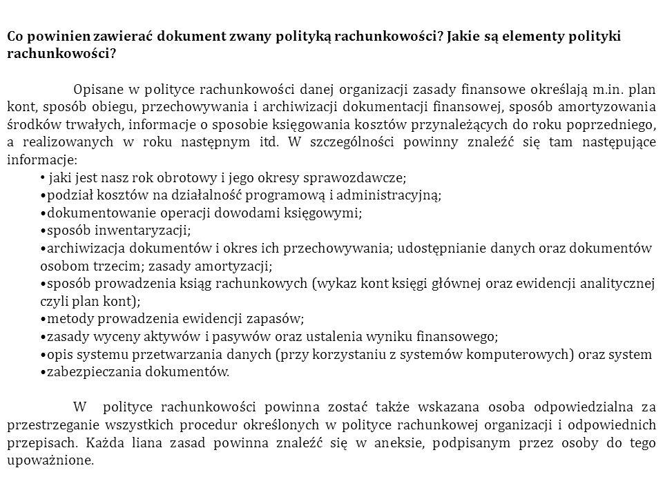 Co powinien zawierać dokument zwany polityką rachunkowości? Jakie są elementy polityki rachunkowości? Opisane w polityce rachunkowości danej organizac