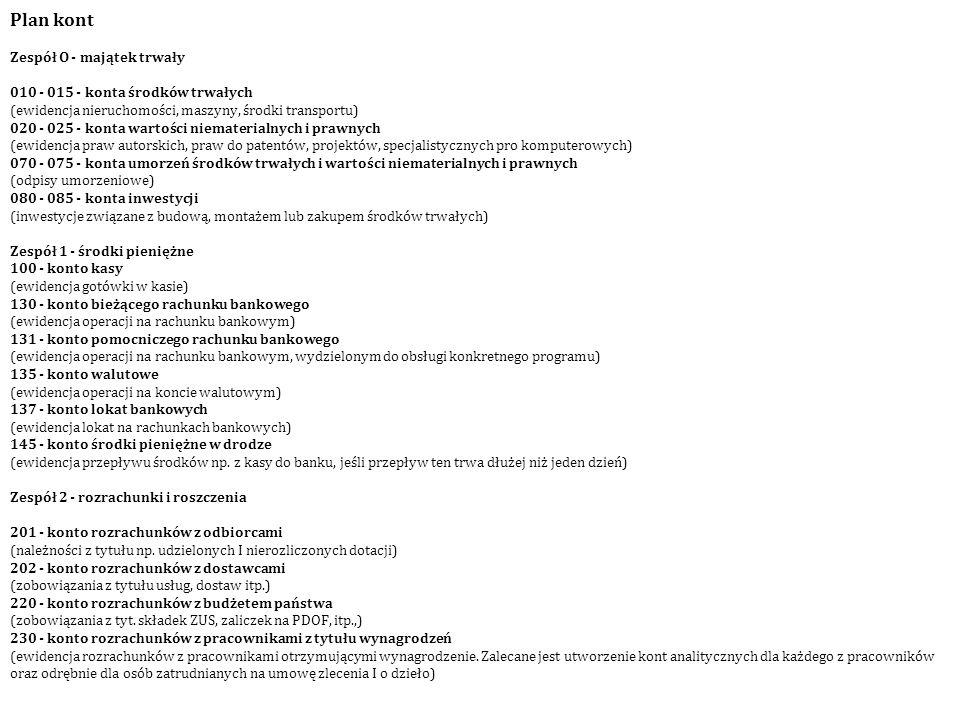 Plan kont Zespół O - majątek trwały 010 - 015 - konta środków trwałych (ewidencja nieruchomości, maszyny, środki transportu) 020 - 025 - konta wartośc