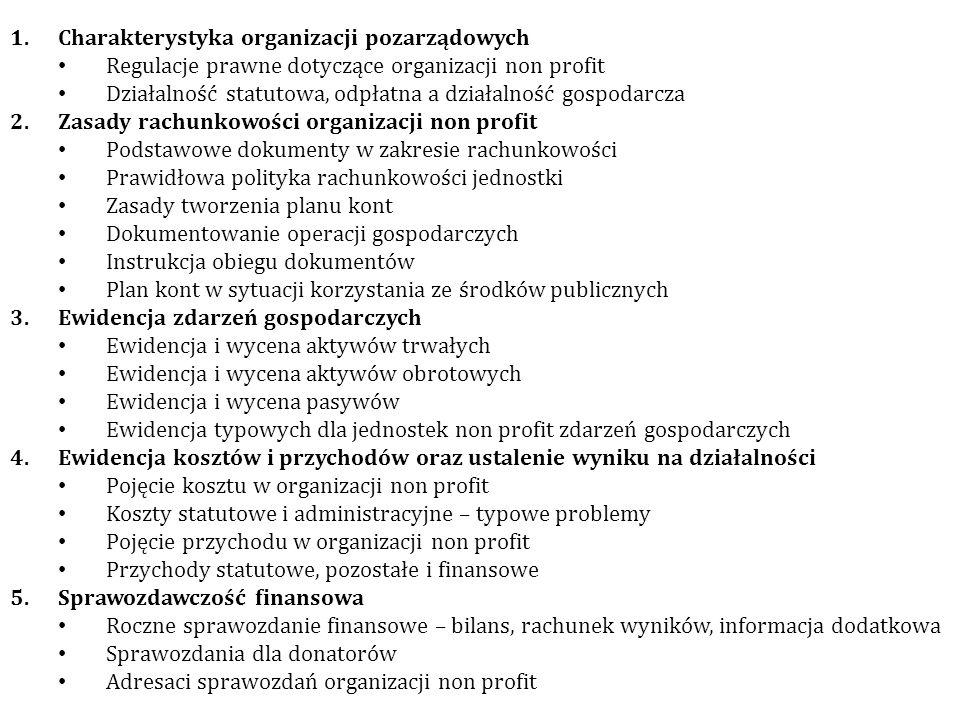 1.Charakterystyka organizacji pozarządowych Regulacje prawne dotyczące organizacji non profit Działalność statutowa, odpłatna a działalność gospodarcz