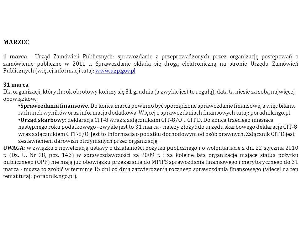 MARZEC 1 marca - Urząd Zamówień Publicznych: sprawozdanie z przeprowadzonych przez organizację postępowań o zamówienie publiczne w 2011 r. Sprawozdani