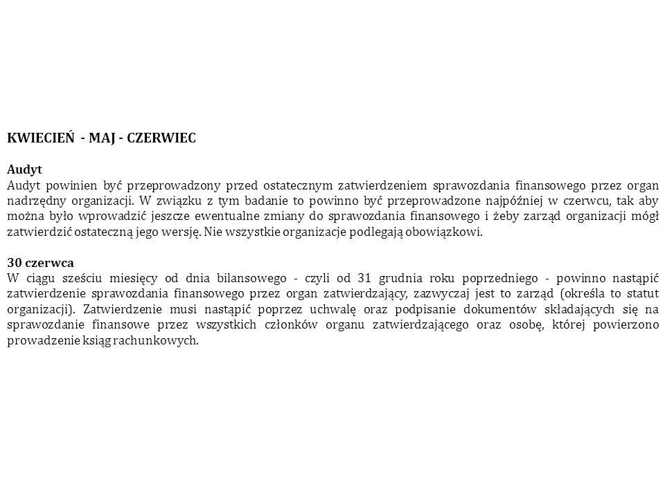 KWIECIEŃ - MAJ - CZERWIEC Audyt Audyt powinien być przeprowadzony przed ostatecznym zatwierdzeniem sprawozdania finansowego przez organ nadrzędny orga