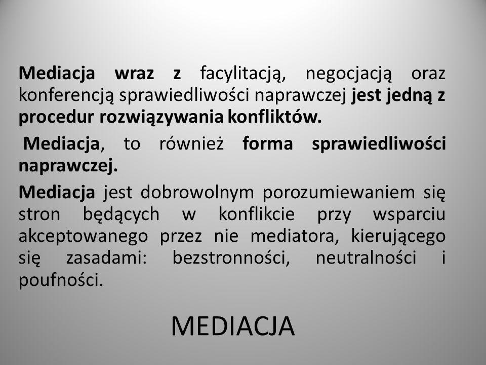 MEDIACJA Mediacja wraz z facylitacją, negocjacją oraz konferencją sprawiedliwości naprawczej jest jedną z procedur rozwiązywania konfliktów.