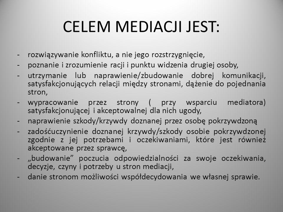 CELEM MEDIACJI JEST: -rozwiązywanie konfliktu, a nie jego rozstrzygnięcie, -poznanie i zrozumienie racji i punktu widzenia drugiej osoby, -utrzymanie lub naprawienie/zbudowanie dobrej komunikacji, satysfakcjonujących relacji między stronami, dążenie do pojednania stron, -wypracowanie przez strony ( przy wsparciu mediatora) satysfakcjonującej i akceptowalnej dla nich ugody, -naprawienie szkody/krzywdy doznanej przez osobę pokrzywdzoną -zadośćuczynienie doznanej krzywdy/szkody osobie pokrzywdzonej zgodnie z jej potrzebami i oczekiwaniami, które jest również akceptowane przez sprawcę, -budowanie poczucia odpowiedzialności za swoje oczekiwania, decyzje, czyny i potrzeby u stron mediacji, -danie stronom możliwości współdecydowania we własnej sprawie.