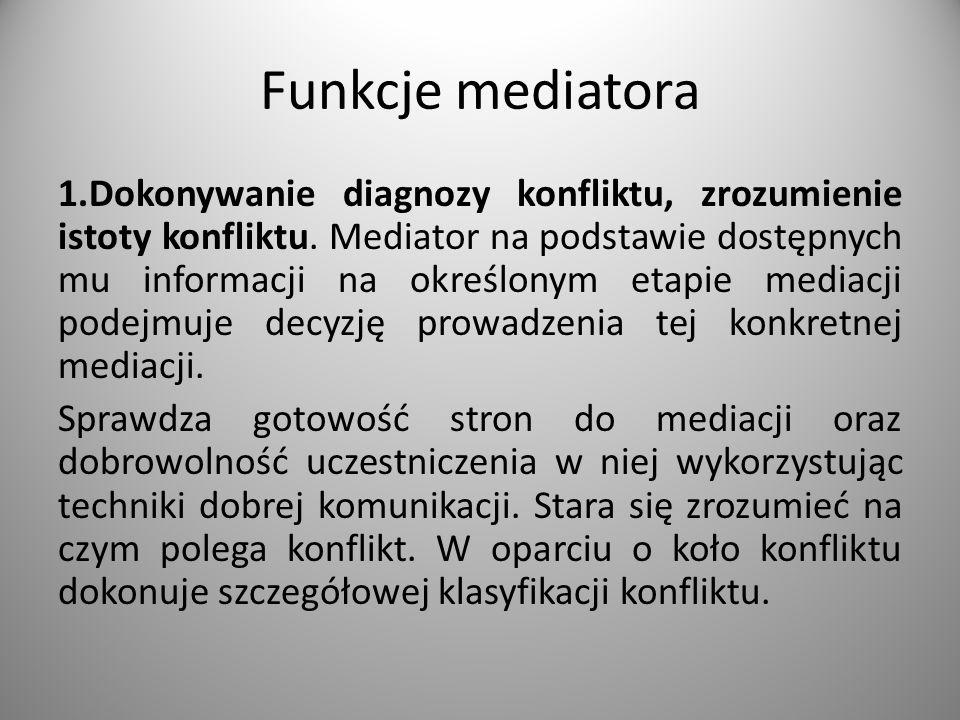 Funkcje mediatora 1.Dokonywanie diagnozy konfliktu, zrozumienie istoty konfliktu.