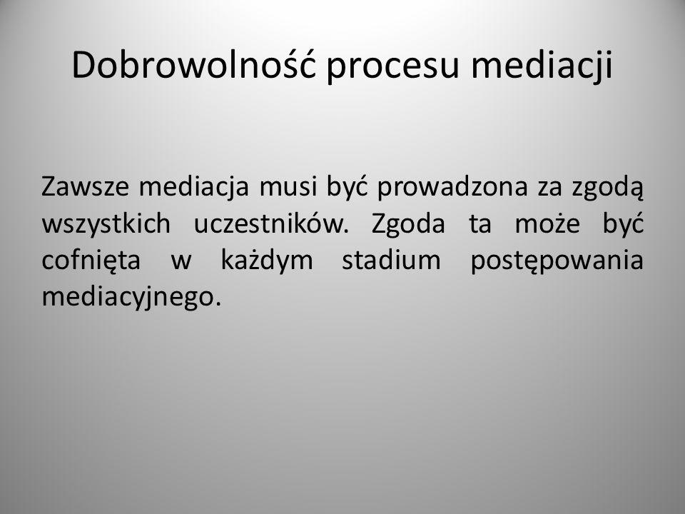 Dobrowolność procesu mediacji Zawsze mediacja musi być prowadzona za zgodą wszystkich uczestników.